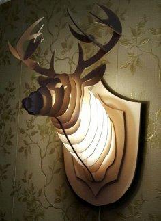 Wooden light decorative deer head CDR File
