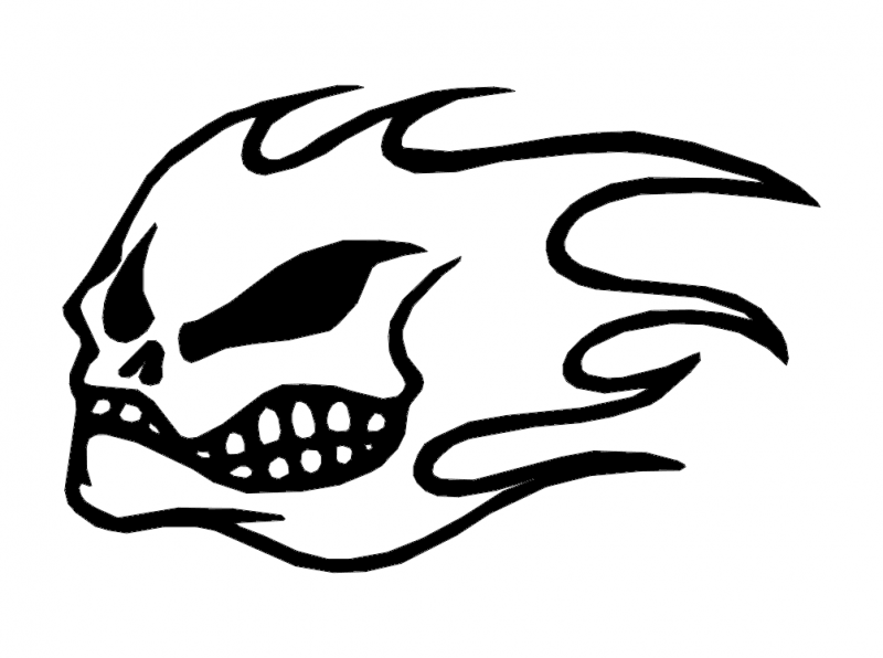 Flame skull dxf File