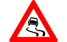 Road Sign Slippery road dxf File