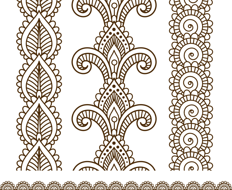 Indian Mehndi Henna Line Lace Elements Patterns Free Vector Cdr