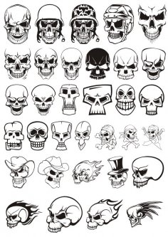 Skull demon or evil horror Vector Pack CDR File