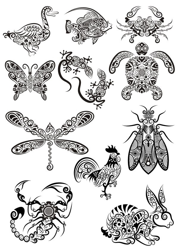 ornament animals tribal tattoo designs coreldraw vector cdr file free download. Black Bedroom Furniture Sets. Home Design Ideas