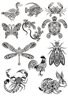 Ornament Animals Tribal Tattoo Designs CDR File