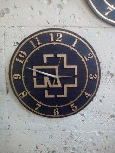 Laser Cut Rammstein Band Logo Wall Clock Template Free Vector
