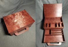 Laser Cut Thread Spool Box Sewing Kit Wooden Storage Box Free Vector