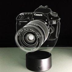 Laser Cut Canon 3D Illusion Optical Lamp Free Vector