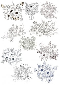 Floral Bouquet Vectors Set Free Vector