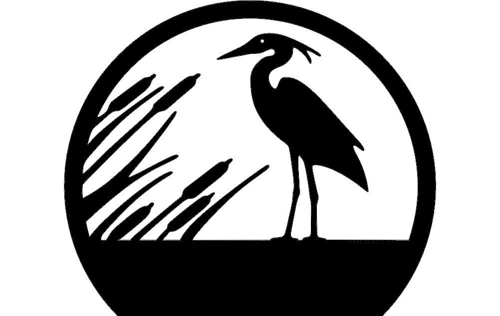 Heron Silhouette dxf File Free Download - 3axis.co