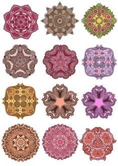 Vector Mandala Ornament Set Free Vector