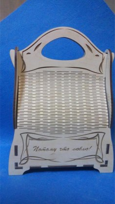 Laser Cut Candy Gift Box Basket With Handle Template Free Vector