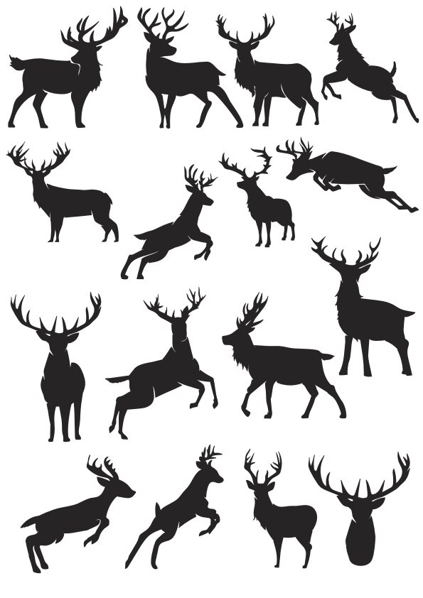 Deer Silhouette Vector Collection Free Vector Cdr Download
