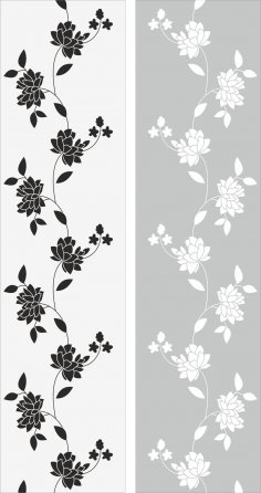 Flowers Glass Decal Vector CDR File