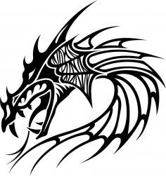 Tribal Dragon Tattoo Vector CDR File