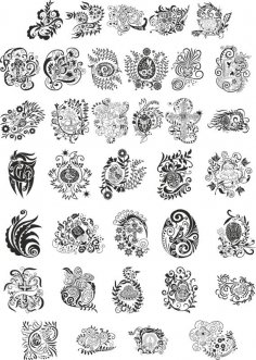 Abstract Floral Design Elements CDR File