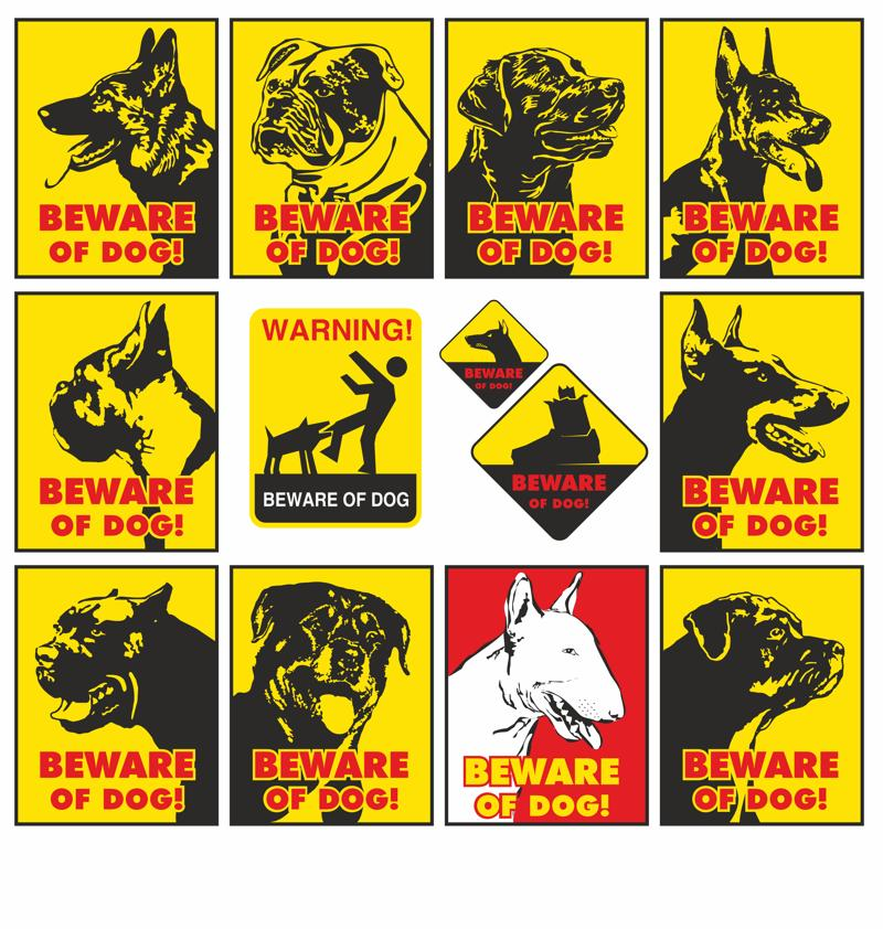 Beware of dog warning signs vector set CDR File