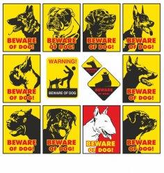 Beware of dog warning signs vector set CDR File