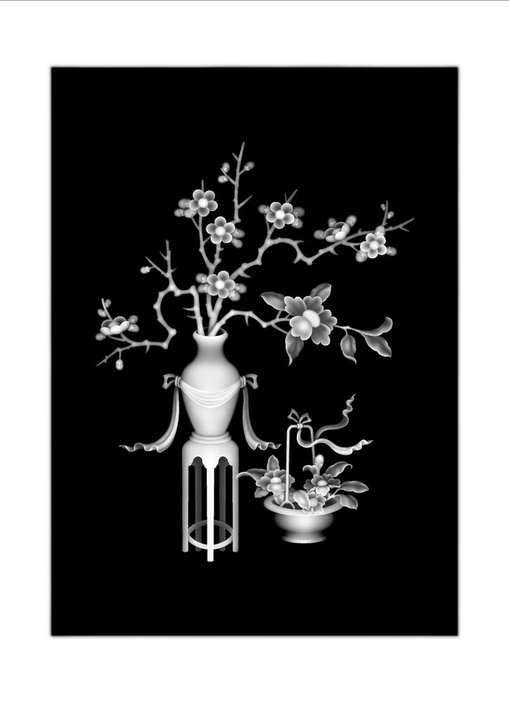 3D Grayscale Image Vase Bitmap ( bmp) format file free