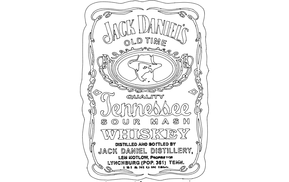 Jack Daniel's Tennessee Whiskey 2 dxf File Free Download - 3axis.co