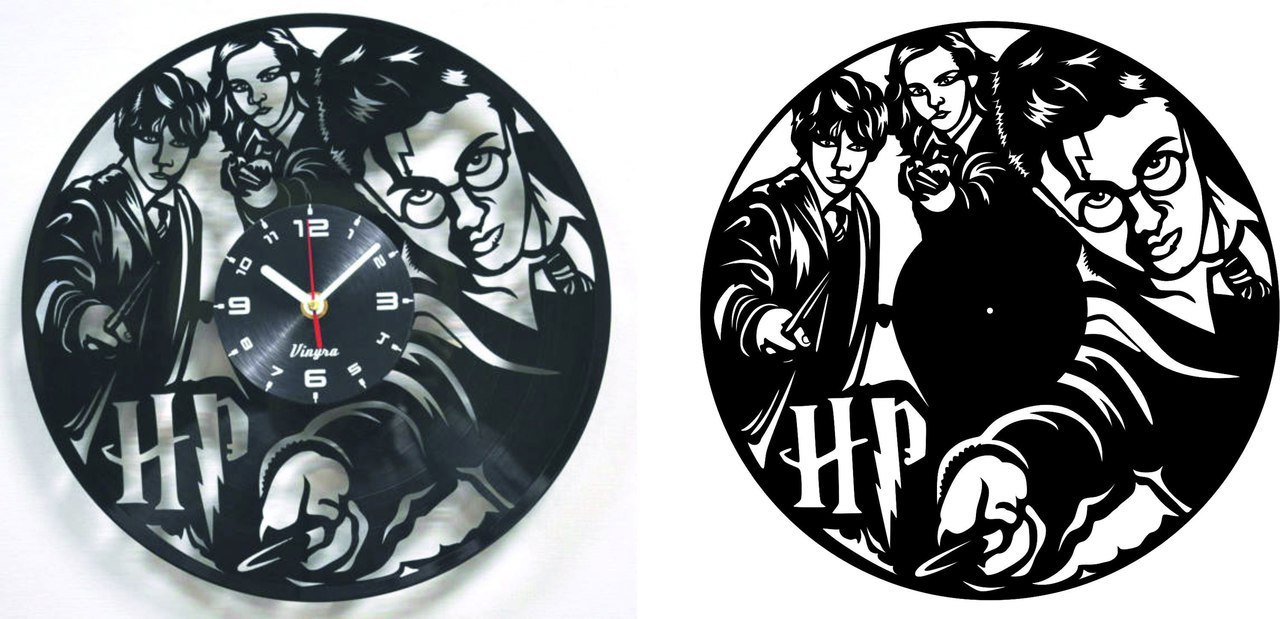 Harry Potter Vinyl Record Clock Dxf File Free Download