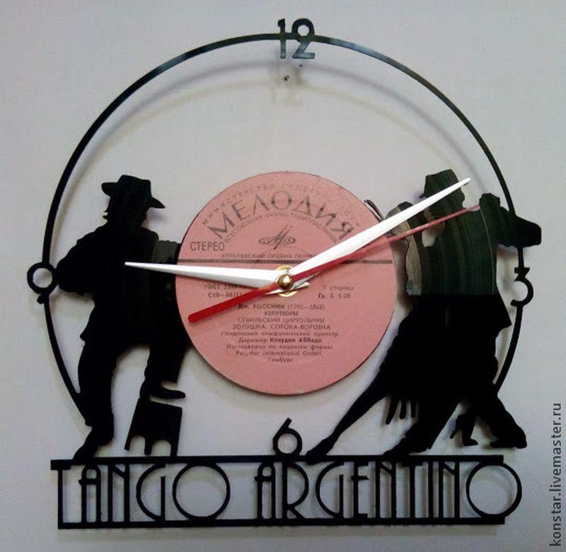 Tango Argentino Vinyl Record Wall Clock DXF File Free