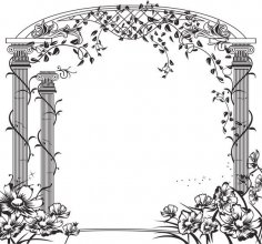 Floral Gate Vector CDR File