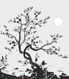 Tree Glass Door Design CDR File