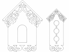 Birds House Front Design dxf File