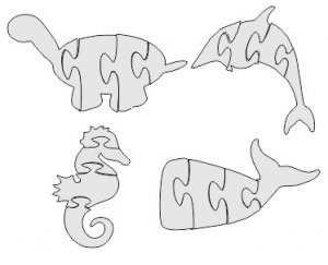 Dolphin Jigsaw Puzzle DXF File