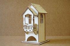 Laser Cut Tea House With Balcony Free Vector