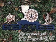 Laser Cut Ice Hockey Medal Display Hanger With Clock Free Vector