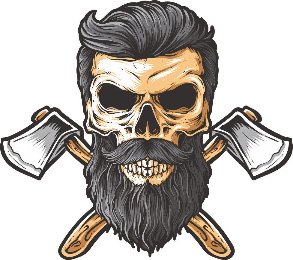 Bearded skull illustration on white background free vector