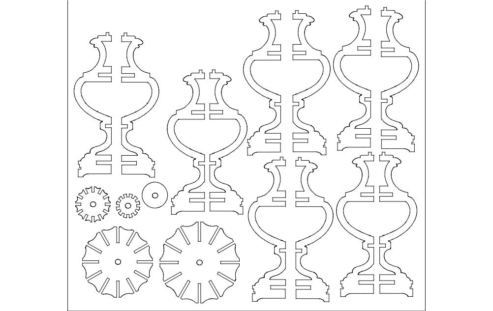 Lamp 2d Flat dxf File