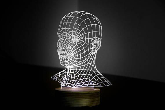 HEAD 3d illusion acrylic lamp CDR File