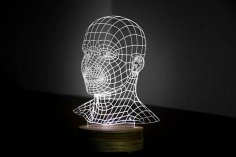 HEAD 3d illusion acrylic lamp CDR File
