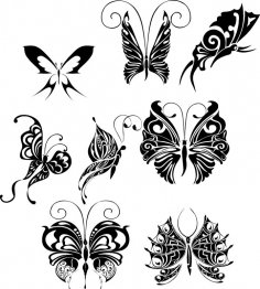 Butterfly Tattoo Design Vectors Art CDR File