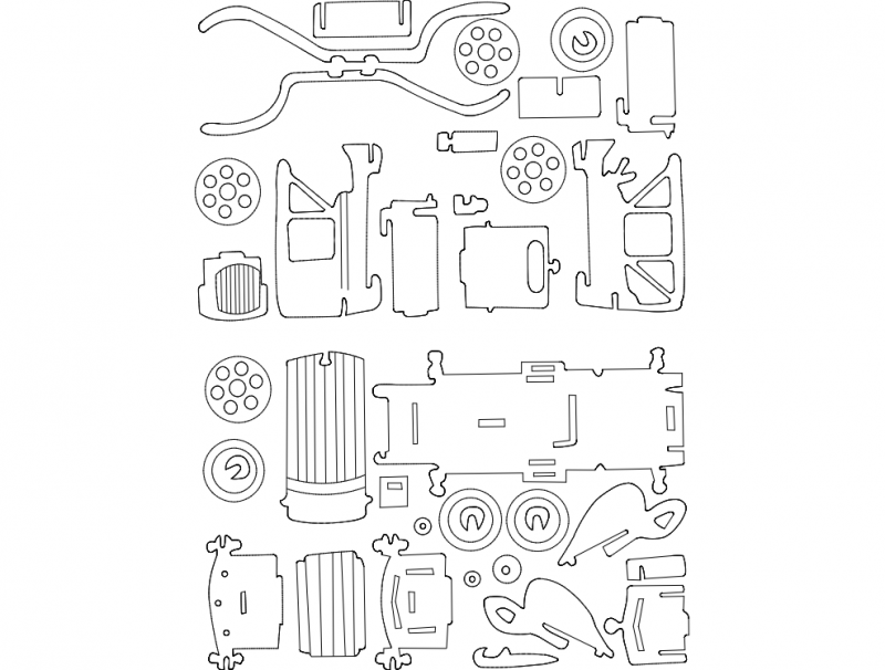 Old Car dxf File Free Download - 3axis.co