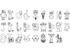 Alfabeto Ilustrado dxf File
