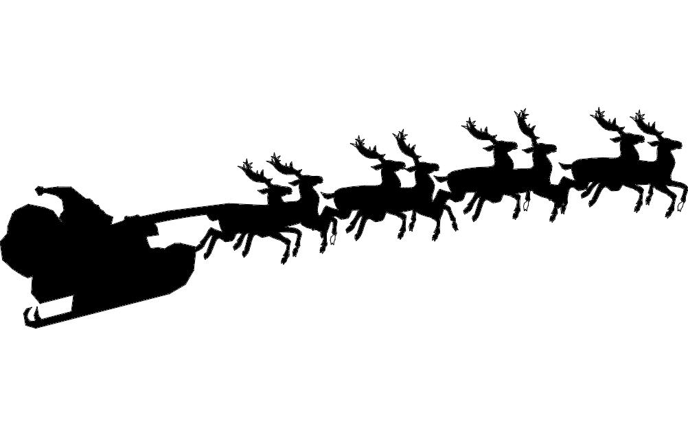 santa with reindeer dxf file - Santa With Reindeer