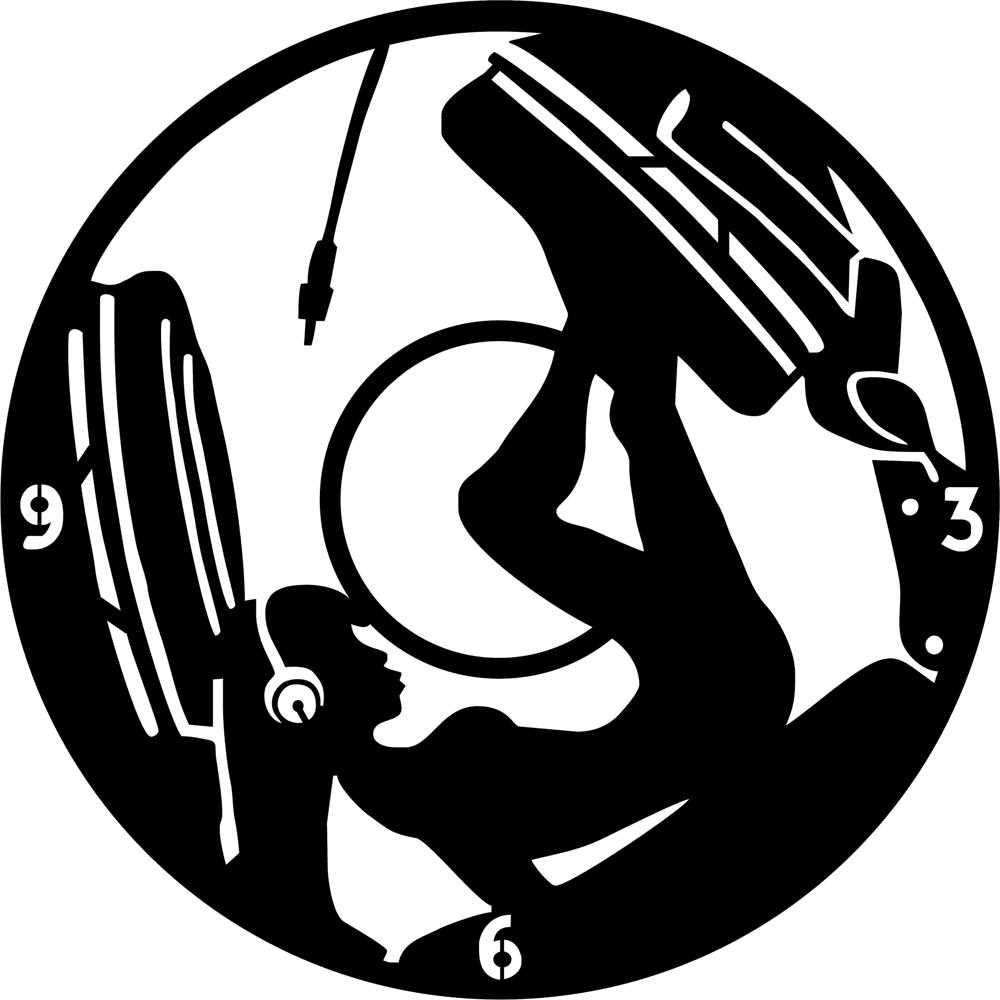 Girl Dj Music Headphones Clock Vinyl Record Free Vector