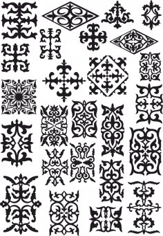 Kazakh Ornament Set Of Elements CDR File