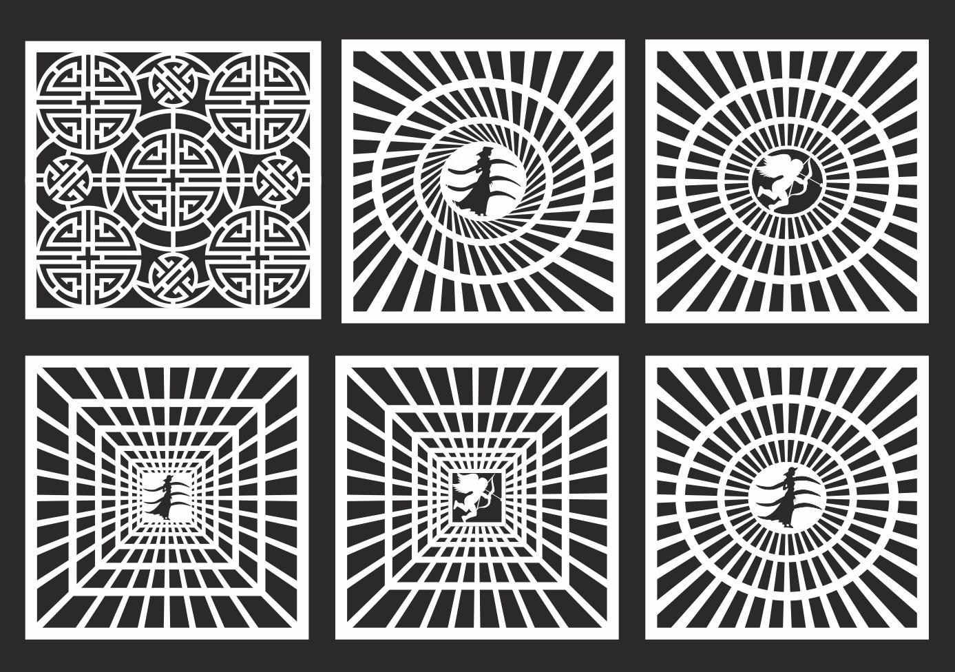 Set of Geometric Square Jali Design CDR File