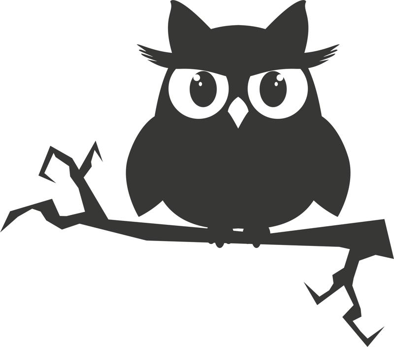 Owl on a branch sticker vector CDR File