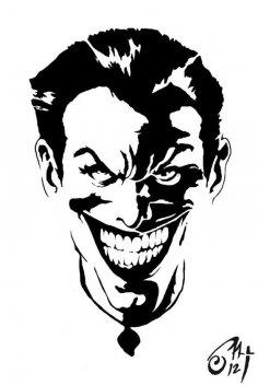 Black and white Joker Stencil vector dxf File