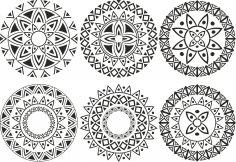 Ornament Circle Vectors Set Free Vector
