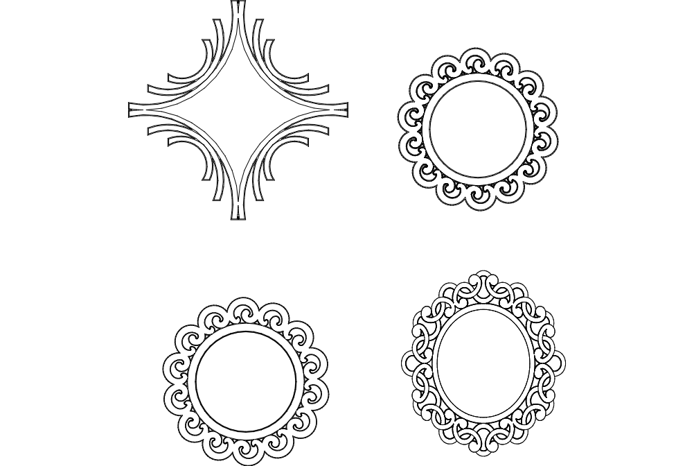 Multiple Mirror Frame Designs Dxf File Free Download