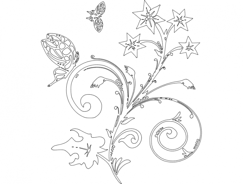 Flower With Butterfly Dxf File Free Download 3axis Co