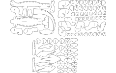 Alligator 3D Puzzle DXF File