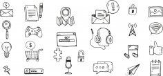 Doodle Icons Set Free Vector