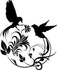 Birds Swirl dxf File